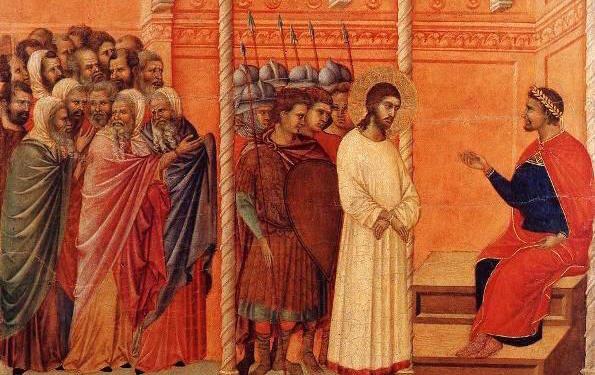 Christ before Pilate  by Duccio di Buoninsegna