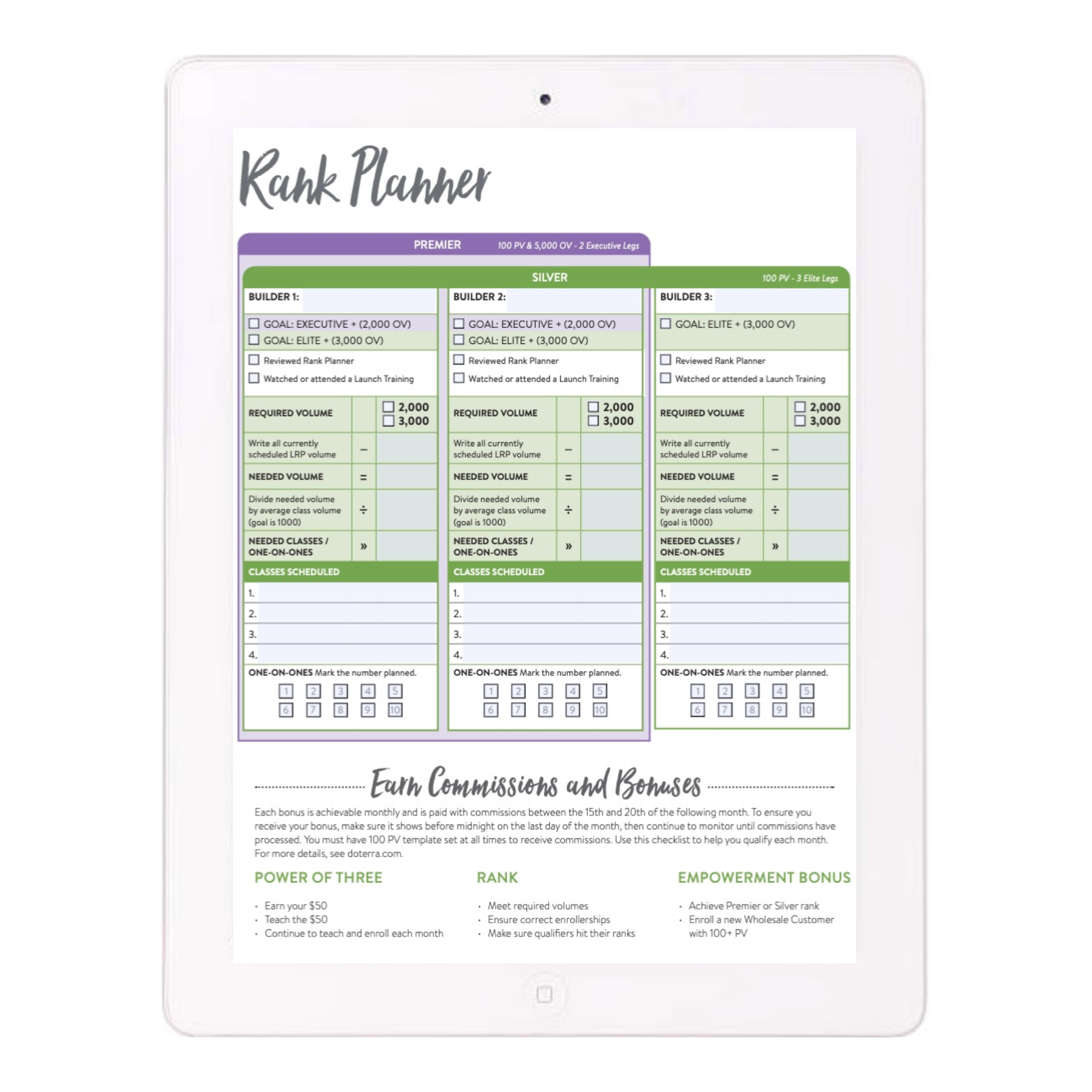Premier/Silver Rank Planner