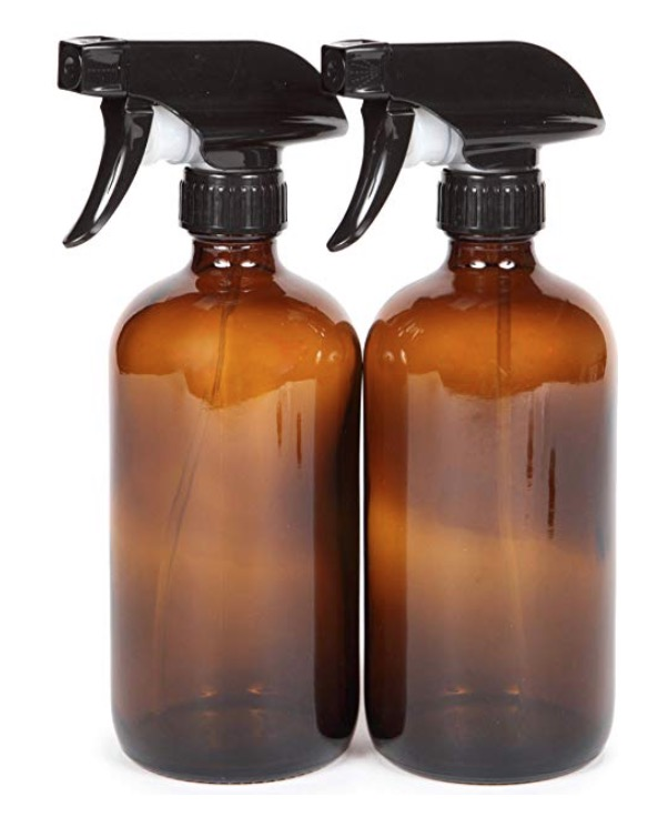 2 x 16oz amber glass spray bottles