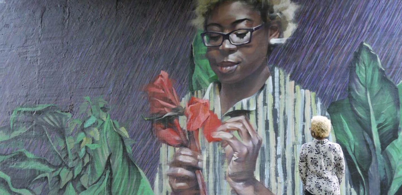 Purple Rain - Medium: MuralAcrylic and SpraypaintSize: 120' x 35'Year: 2016Location: Atlanta, GeorgiaCollaboration: Jarus