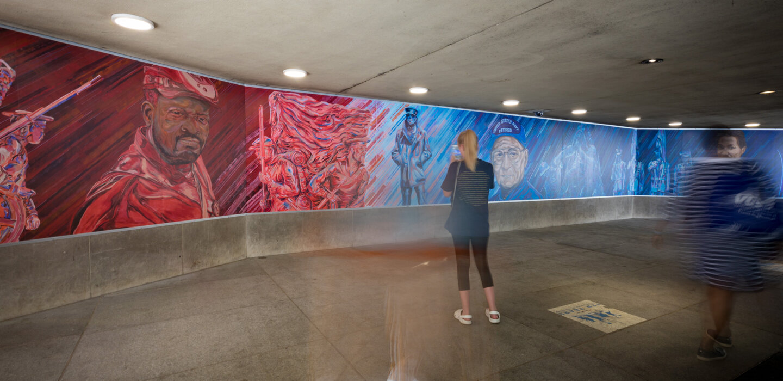In Service - Medium: Mural – Acrylic & Spraypaint on Aluminum PanelsSize: 64' 4