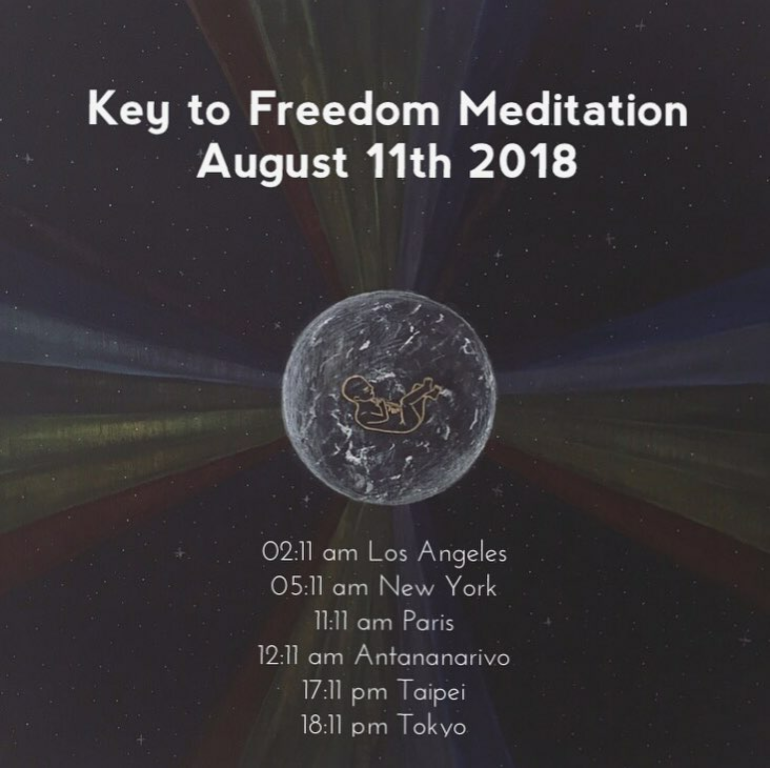 "Illustration by Fanja Ralaimaro (Instagram: @urbanminimalistokyo)   ""Key to Freedom Meditation""  On August 11th 2018 (2018-08-11)  ðŸ™�ðŸ�¾ðŸ'šðŸŒ¿  Let's come Together and Unite for Planetary Liberation and Peace on August 11th 2018.  We are, you and me, all together, able to change things. We have the Power to make this World a better place. We just need to be fully aware of it.  The Solar eclipse on August 11th is a crucial time to create a portal through which we will unify our consciousness and enlighten the energy field around the planet.  It is scientifically proven that Group Meditation helps decreasing drastically the percentage of criminality in the World. You and me, Together can actually help bringing the Event and Full Disclosure closer to us:  http://thespiritscience.net/2015/06/18/studies-show-group-meditation-lowers-crime-suicide-deaths-in-surrounding-areas/  It is a very important time for us to raise our planet's positive Energy and to radically improve the Lives of Everyone on Earth.  We can reach the critical mass of 144,000 people doing this meditation! This will create a massive healing chain reaction in the energy field worldwide.  The meditation will last 15 minutes. 🌿 You can follow the instructions of this Meditation below in the comments. 🌿  You can participate from wherever you are. From home, from work, in the train, from school, in a park, in your coffee house, etc.  Check the time of the meditation for your zone here: 🌿  https://www.timeanddate.com/worldclock/fixedtime.html?msg=KEY+TO+FREEDOM&iso=20180811T111111&p1=195&am=15 🌿 For more detailed informations about this Meditation and to understand more about its purpose, please, read the link below:  http://2012portal.blogspot.com/2018/07/make-this-viral-key-to-freedom.html?m=1  Share the message to the World! 🙌ðŸ�½ðŸŒŽðŸŒ�ðŸŒ�☀ï¸�  Share the post with your friends, family, your colleagues, your neighbors, etc. Copy and share it to Everyone you know on Facebook, Twitter, Instagram, etc.  Let's come together.  It's Time to Unite.  Light ðŸ™�ðŸ�¾ðŸ'šðŸŒ¿  Fanja"
