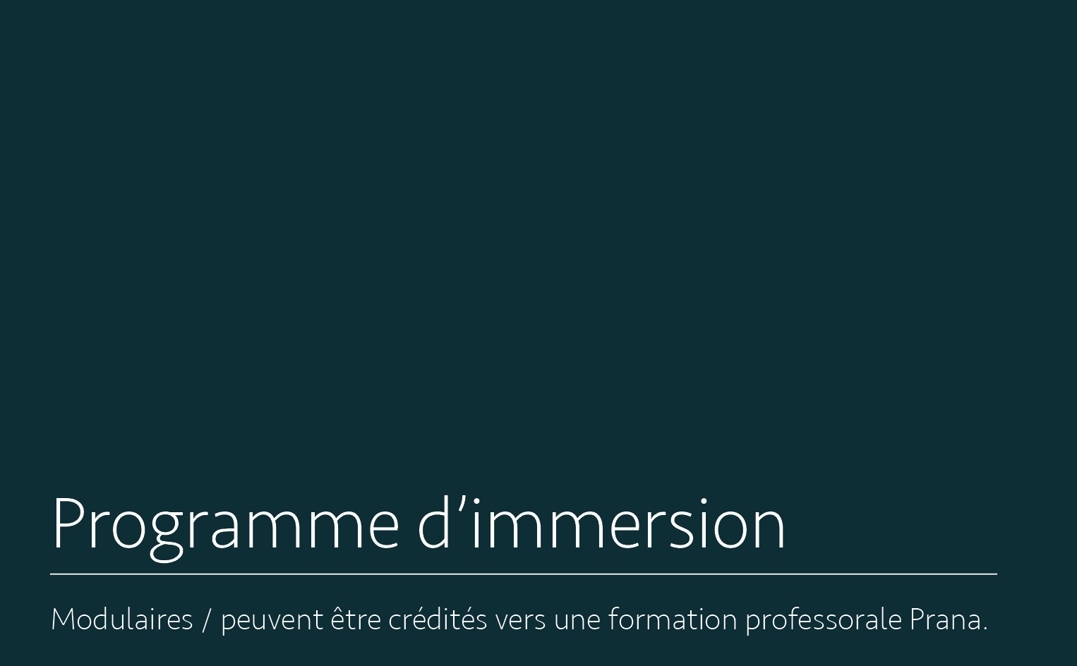 Programme d'immersion - formule modulaire - Pour complémenter / enrichir votre pratique