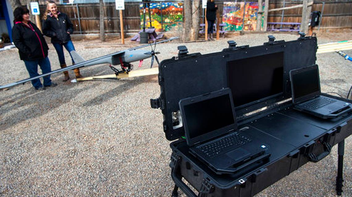 In this Dec. 18, 2018, photo, wildflower International is looking to drones to diversify its Santa Fe, N.M., business. A Native American community in northern New Mexico will soon get help from solar-powered drones to monitor its vast land holdings from above. THE ALBUQUERQUE JOURNAL VIA AP  EDDIE MOORE