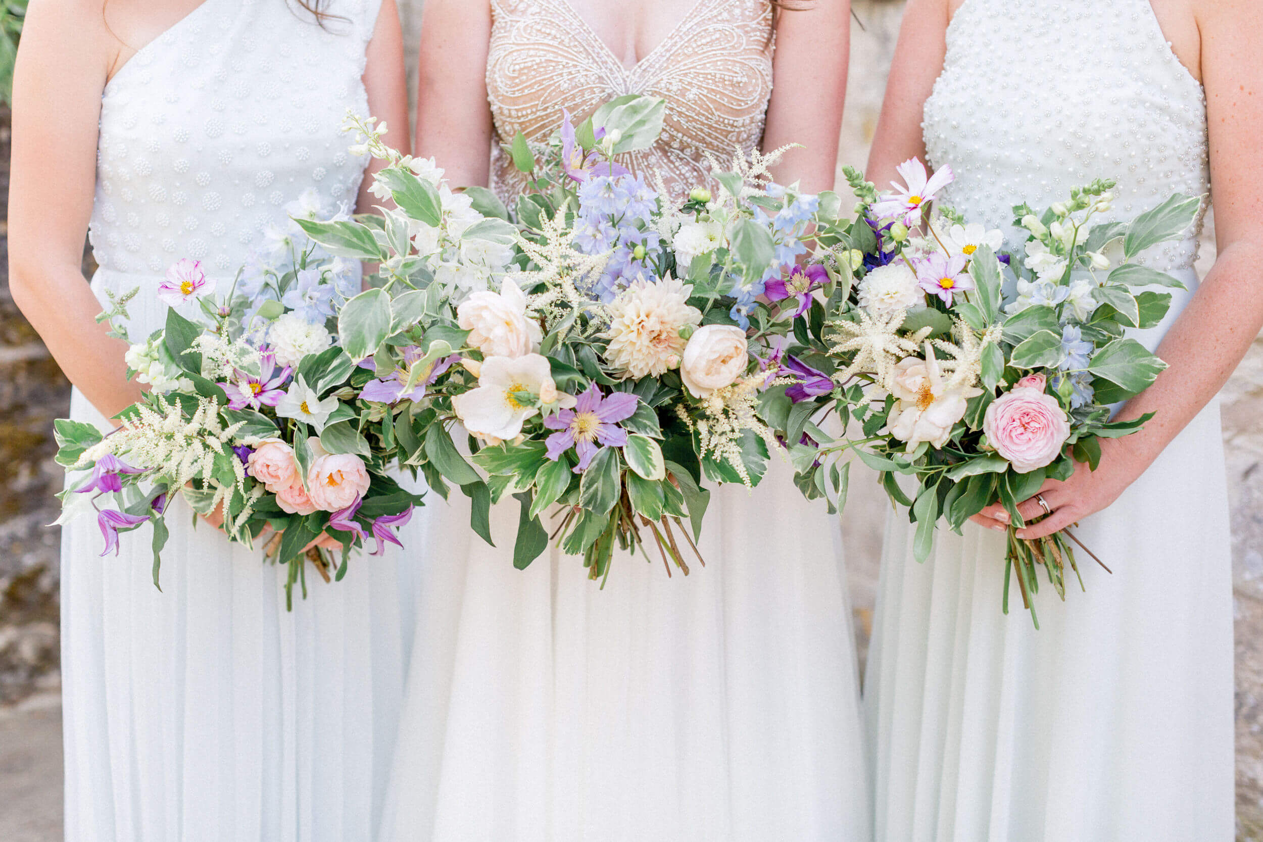 Lilac & Powder Blue Bridal Bouquets