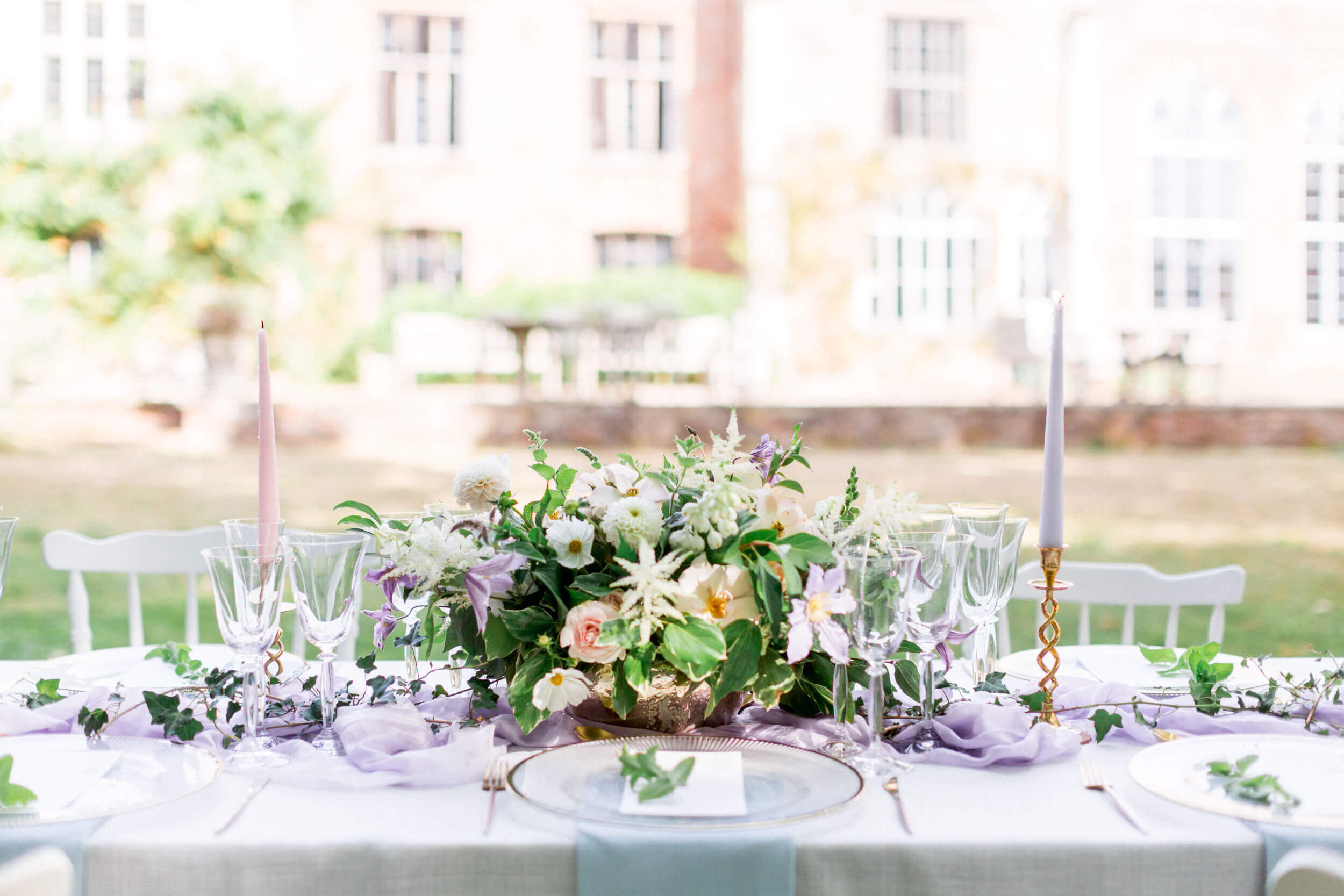 Details of wedding breakfast table at Nether winchendon House