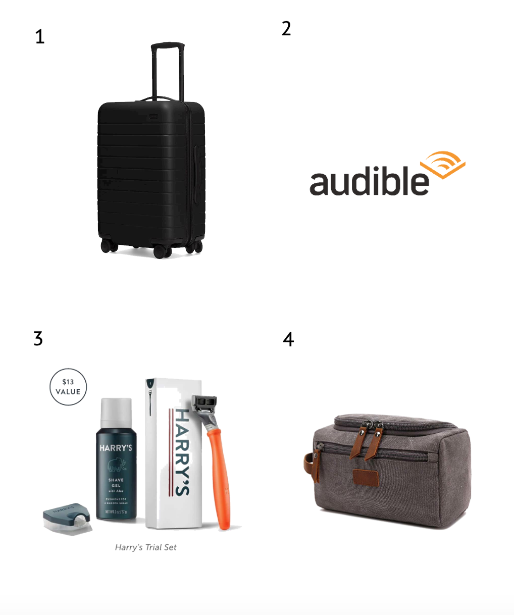 1.   Away Carry-On Suitcase   2.   Audible Membership   3 .  Harry's Shave Club   4.   Toiletry Bag