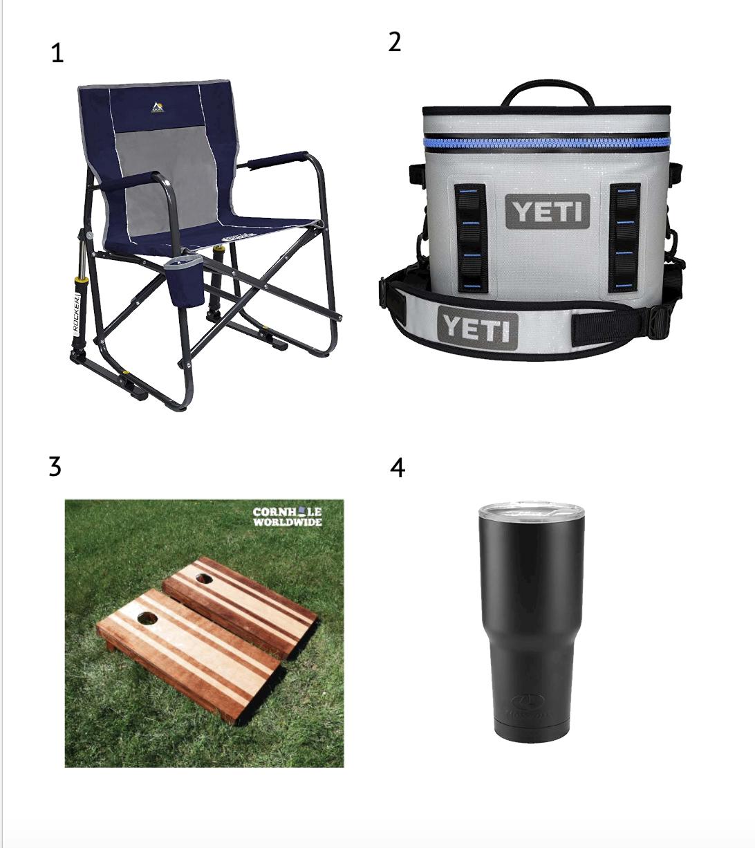 1.   Rocking Tailgate Chair   2.   Yeti Shoulder Cooler     3.   Corn Hole Set   4.   Tumbler