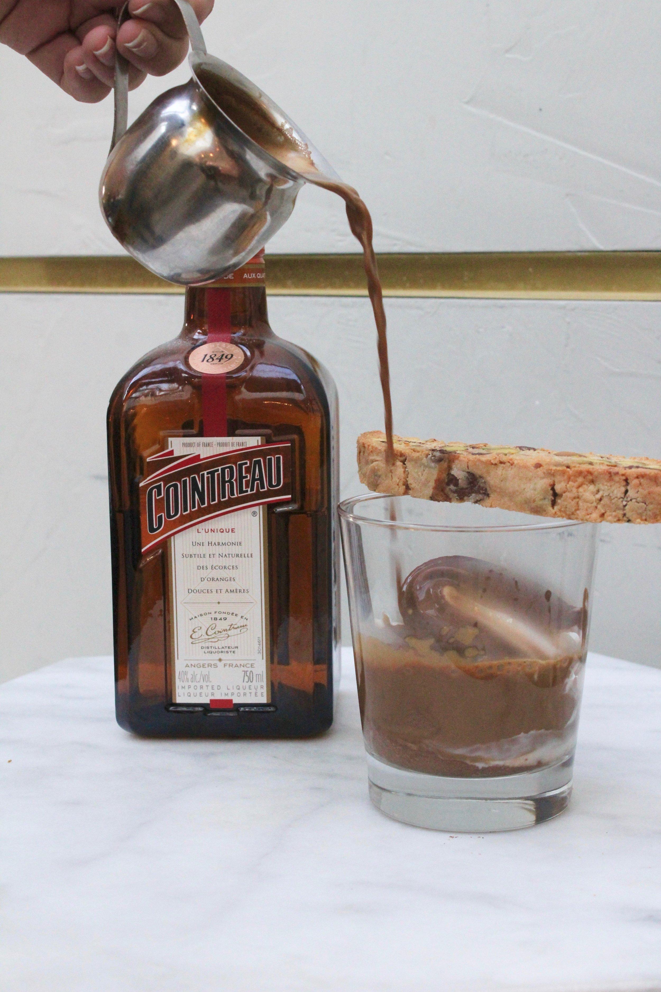 Hot Chocolate Affogato & Cointreau Orange -