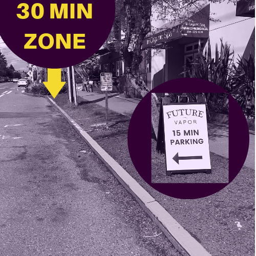 We have a 15 Minute Zone right in front of our shop. Our sandwich board should be visible. There is a 30 Minute Zone a couple spaces north of it. -
