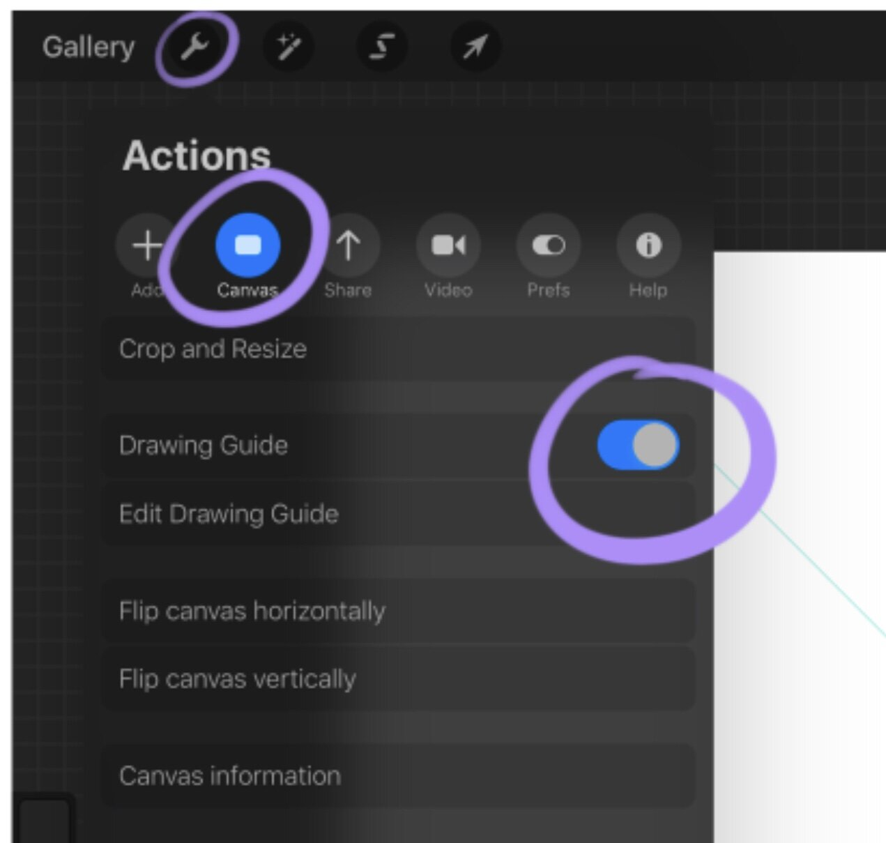 - To access your the tool you need to go to the actions bar again and then click canvas and make sure your drawing guide is visible.