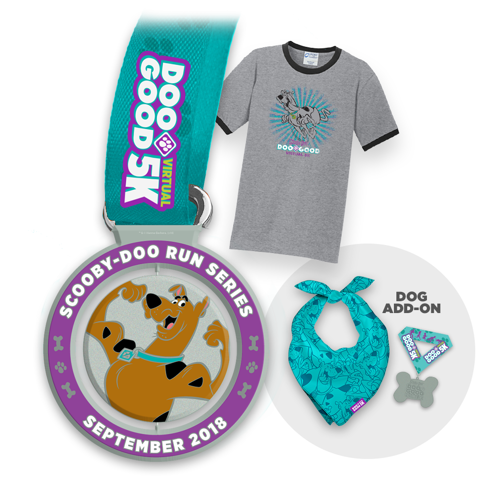 Every registration comes with an official Doo Good Virtual 5K participation medal and t-shirt. - Complete the look for your dog with an add-on that includes bandana and collar medal.