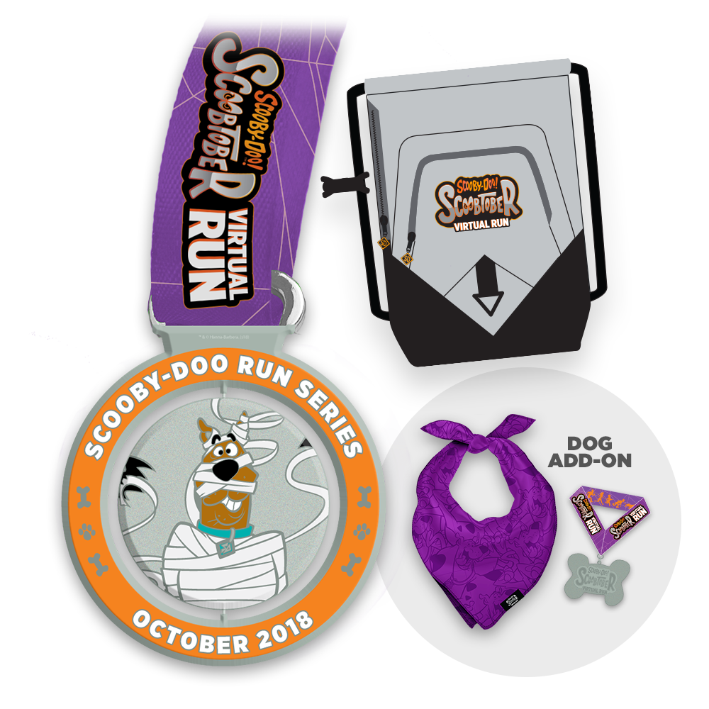 Every registration comes with the official Scoobtober Virtual Run participation medal and drawstring sports bag. - Complete the look for your dog with an add-on that includes bandana and collar medal.
