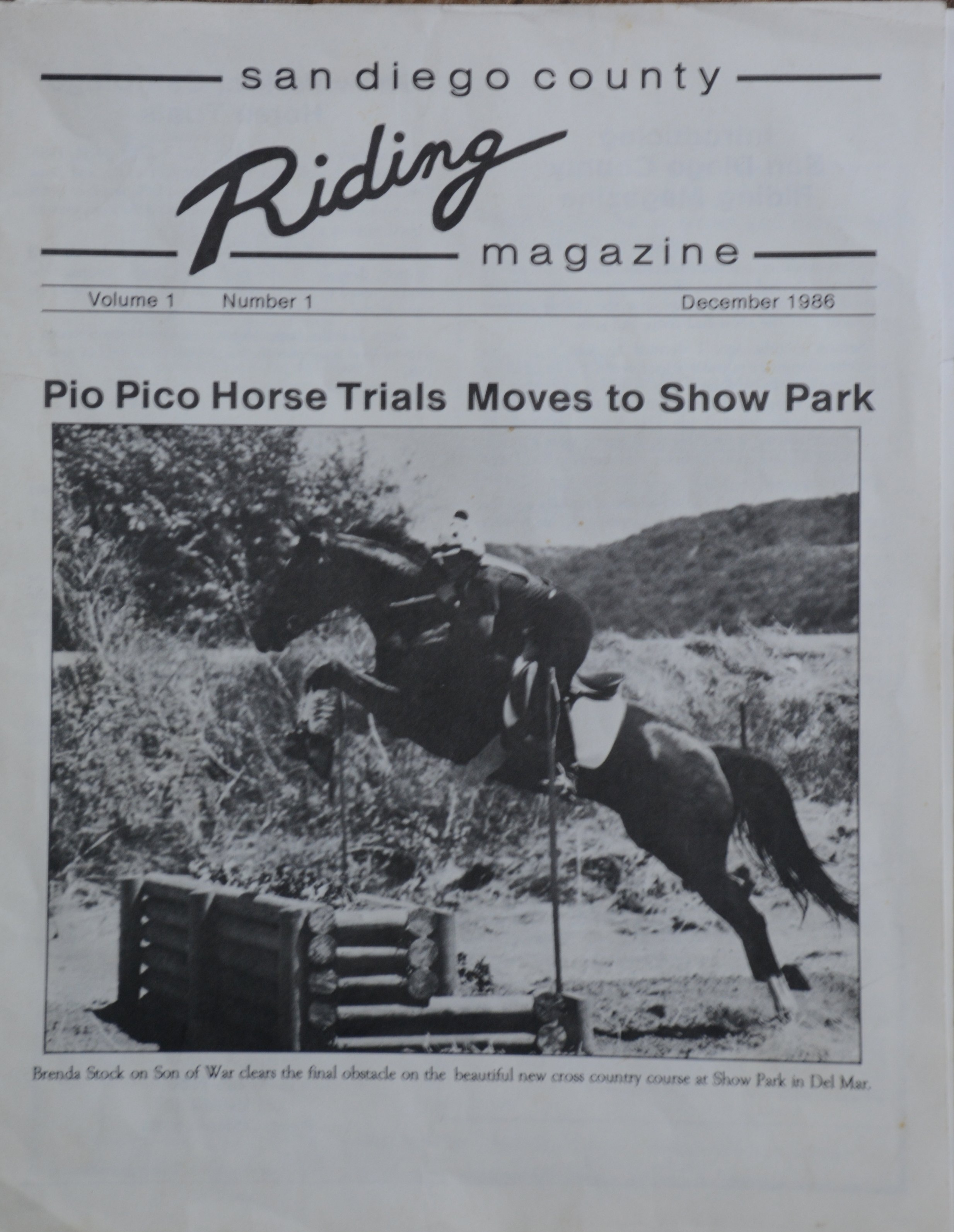 Cheryl hand drew her logo and shot her own printing plate negatives in 1986 when she started her magazine dedicated to San Diego dressage and eventing riders.