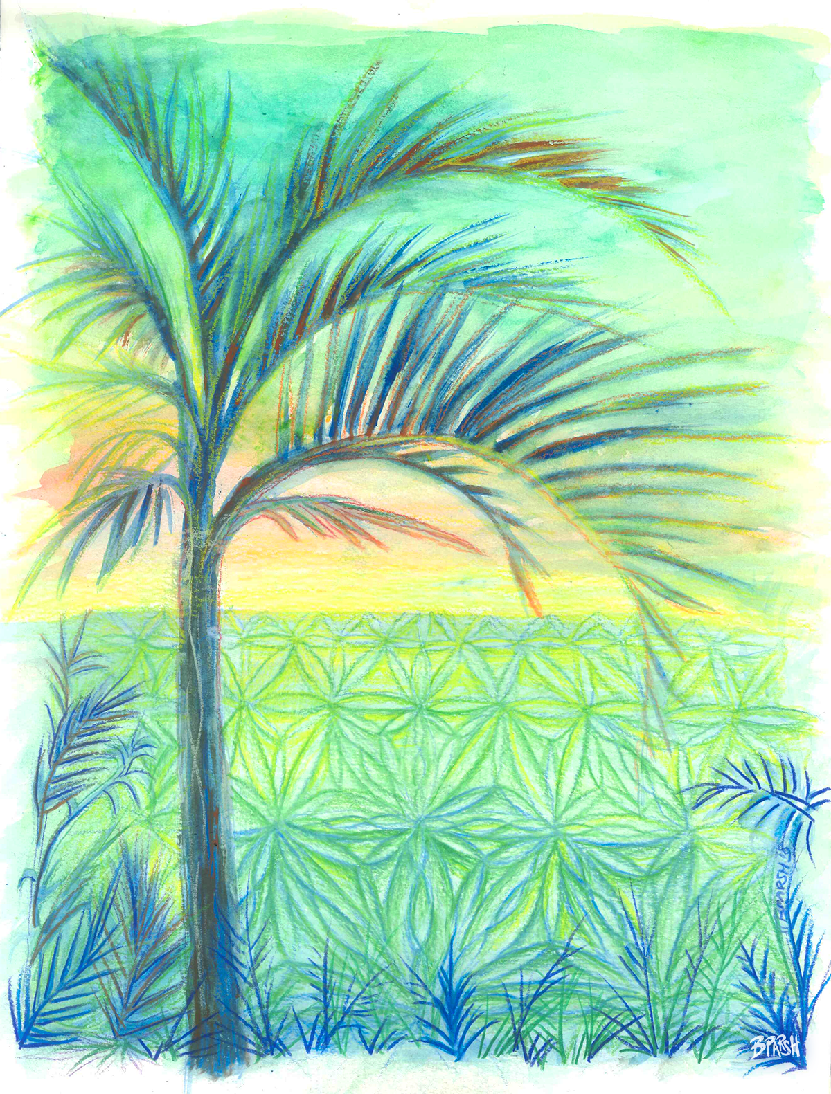 🏝 Plage isolée 🌿  Gouache & Prismacolor Pencils on 9x12 inch cold-pressed watercolor paper 🎨🖌   ORIGINAL SOLD.