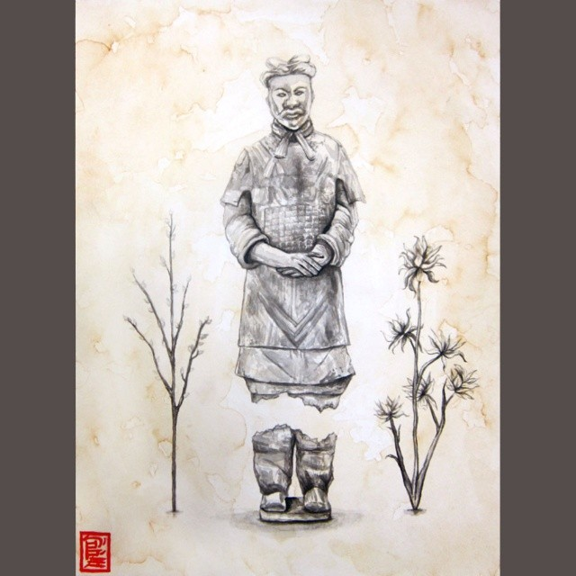 Terra Cotta Warrior  – India ink on 9x12 inch red tea-washed watercolor paper   ORIGINAL SOLD.
