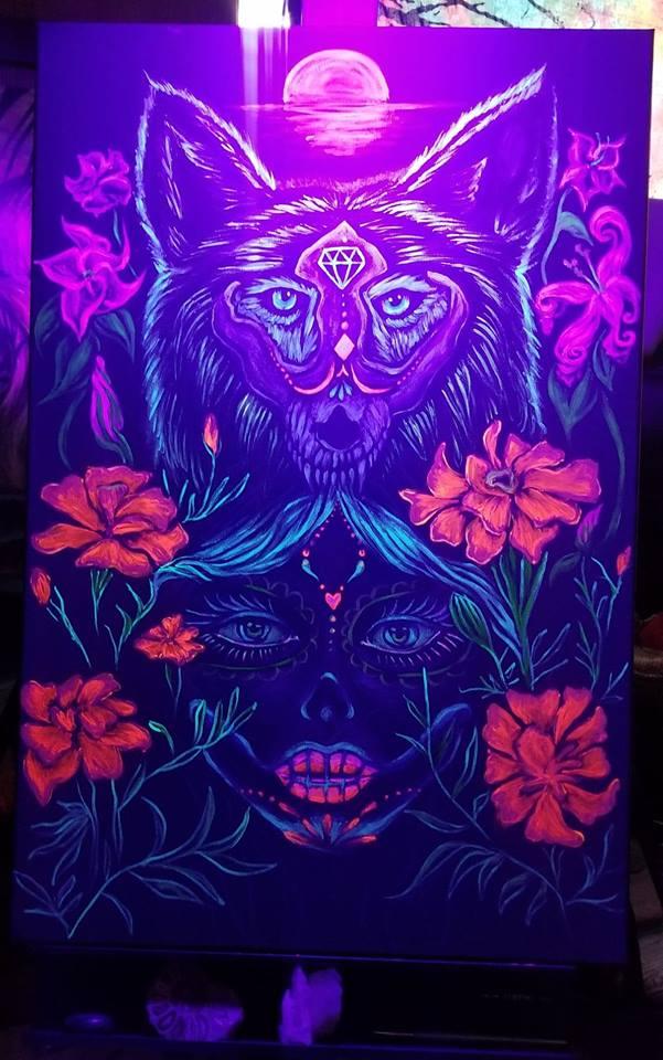 La Loba de los Muertos  - UV reactive acrylics on 2x3 foot black canvas. Live painted at Kenosha Creative Space Day of the Dead block party, 11/3/2018.   PRIVATE COLLECTION.
