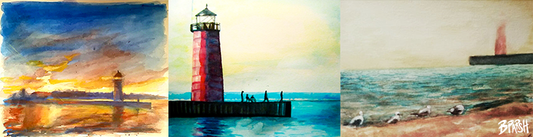 Three of my favorite watercolors of the Lighthouse from years past:  2015, 2012, 2014