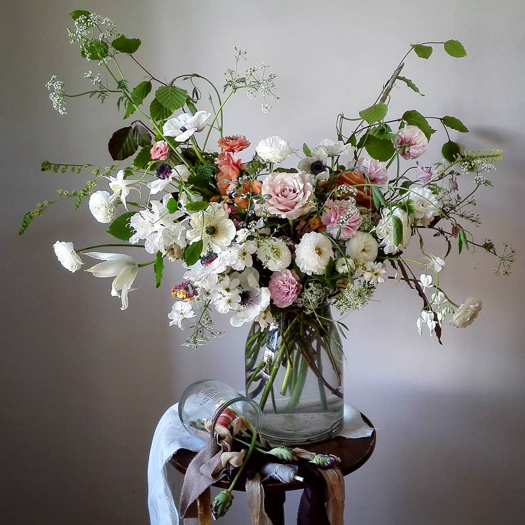 A springtime urn featuring anemones and ranunculas...