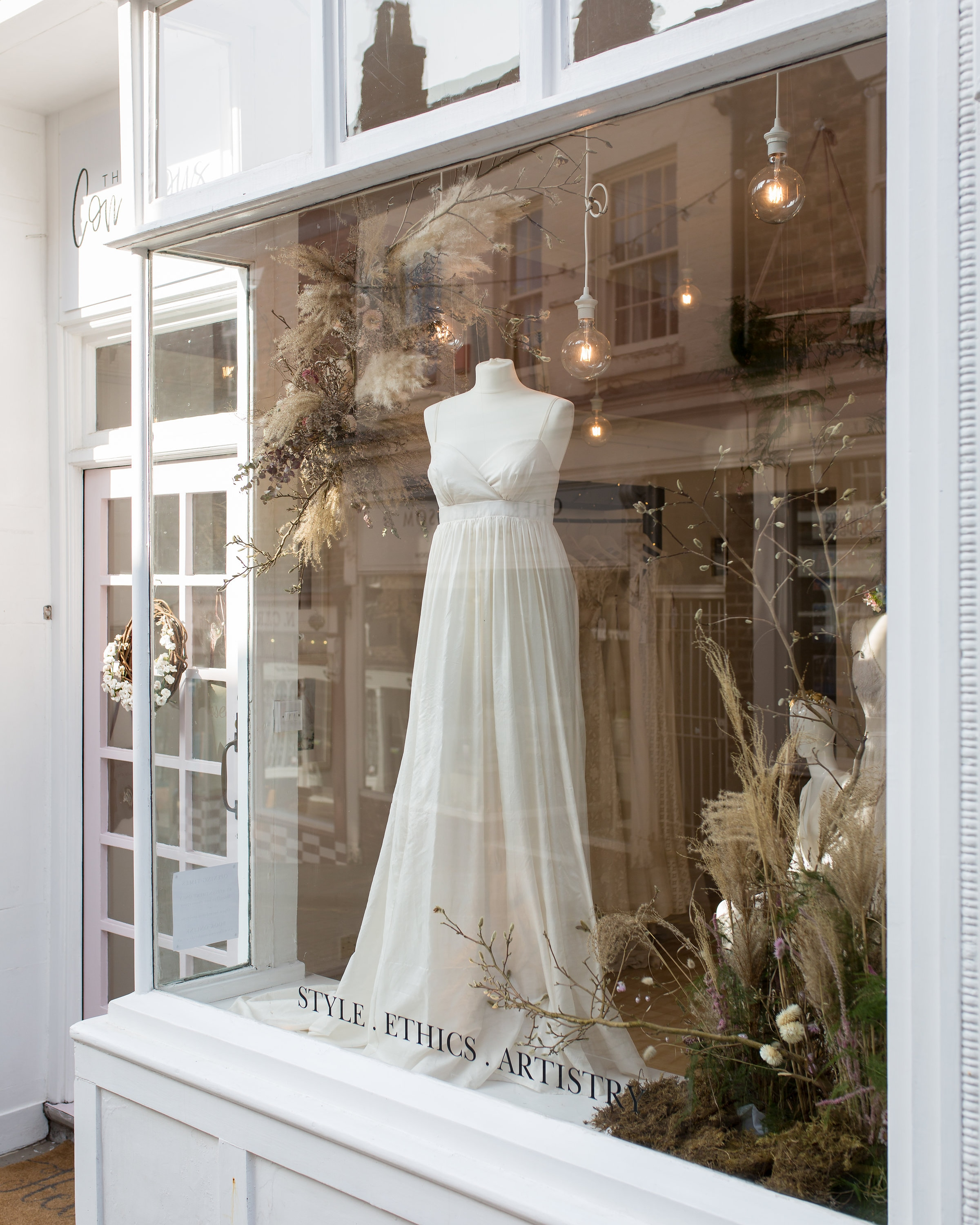 Shop window for The Conscious Bride- an ethical wedding shop. Photo courtesy of Charlotte Palazzo Photography.