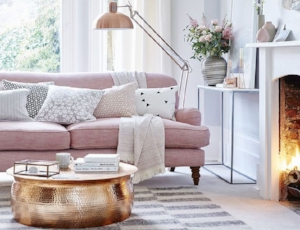 4. Colorful Couch - If painting an accent wall is not an option and small decorations aren't enough for you, go wild with a colorful couch! Perfectly placing a brightly colored couch in a neutral space can completely change the feel and it will surely impress guests!