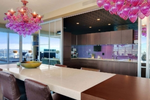 8. Lighting - If you're looking for a little bit of a different way to incorporate new colors into your decor, try a fun colored light fixture! Completely change your kitchen decor by adding bright pink chandeliers!