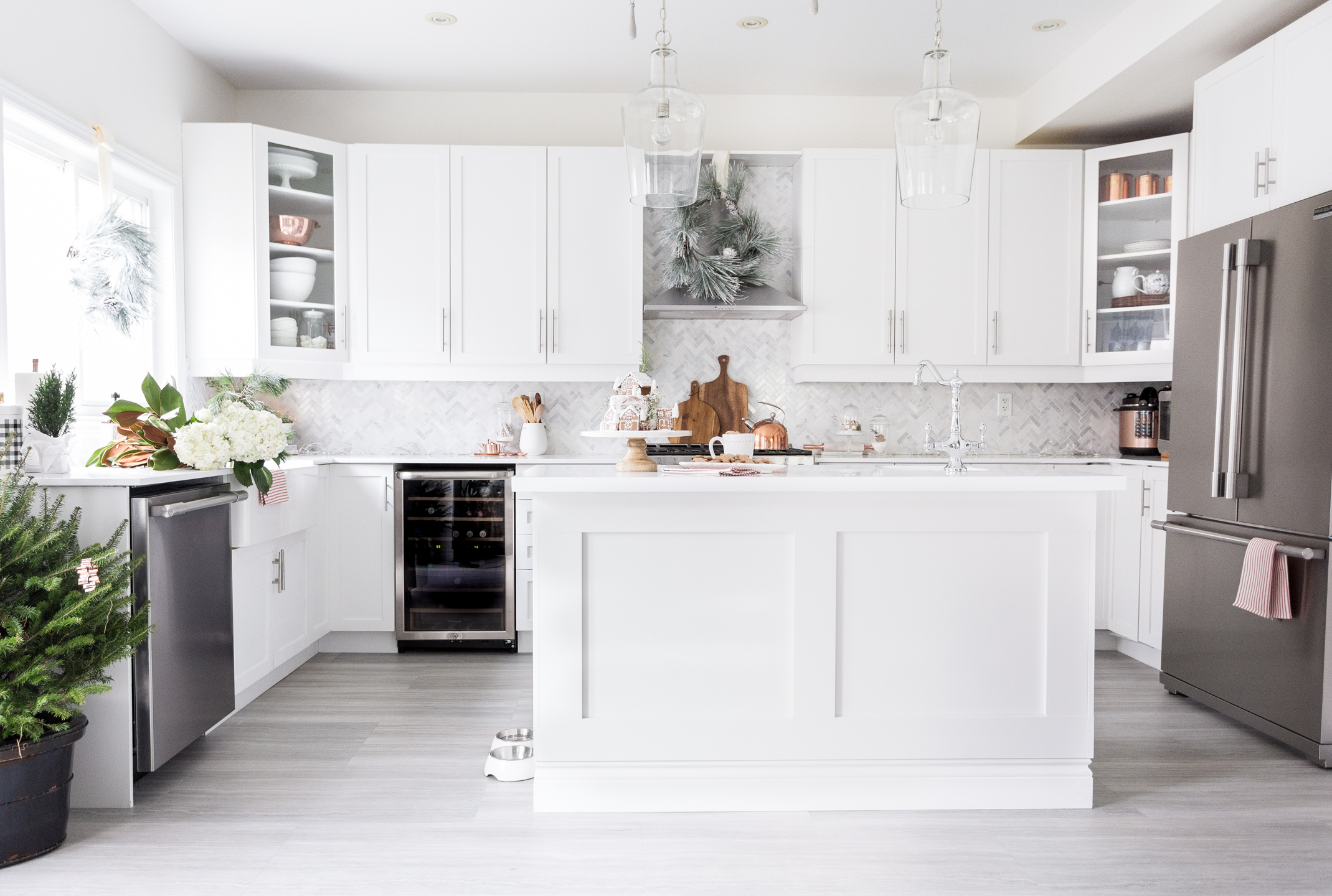 4. Paint cabinets - An easy solution for modernizing your kitchen on a budget is to paint those cabinets!White, black, or espresso colored cabinetry is currently on trend and can make your kitchen look brand new without the hassle and money of a complete renovation.