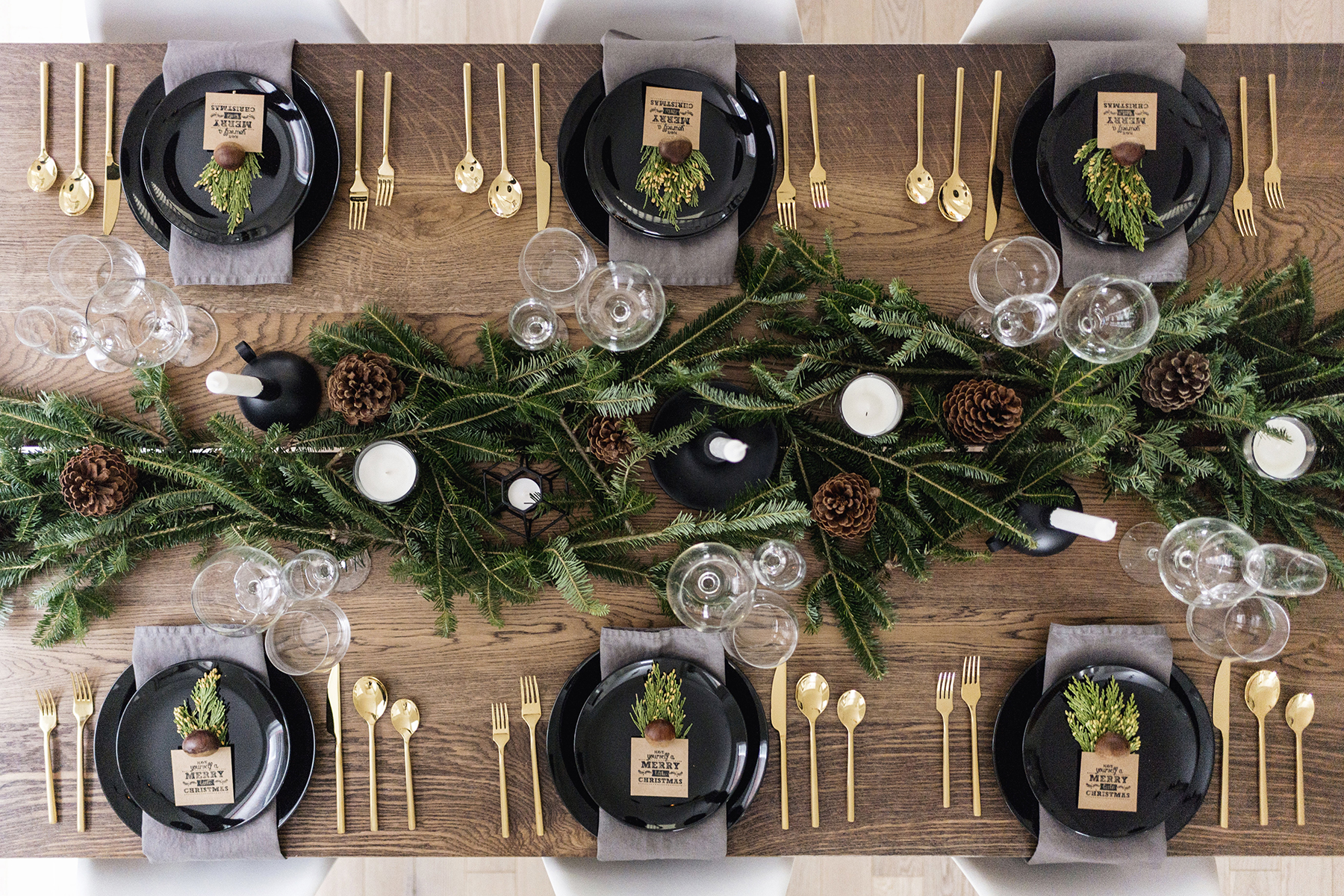 5. Festive Garland - Bring in the Christmas feel with greenery! Adding greens to your tablescape is perfect for accenting your gorgeous centerpiece!