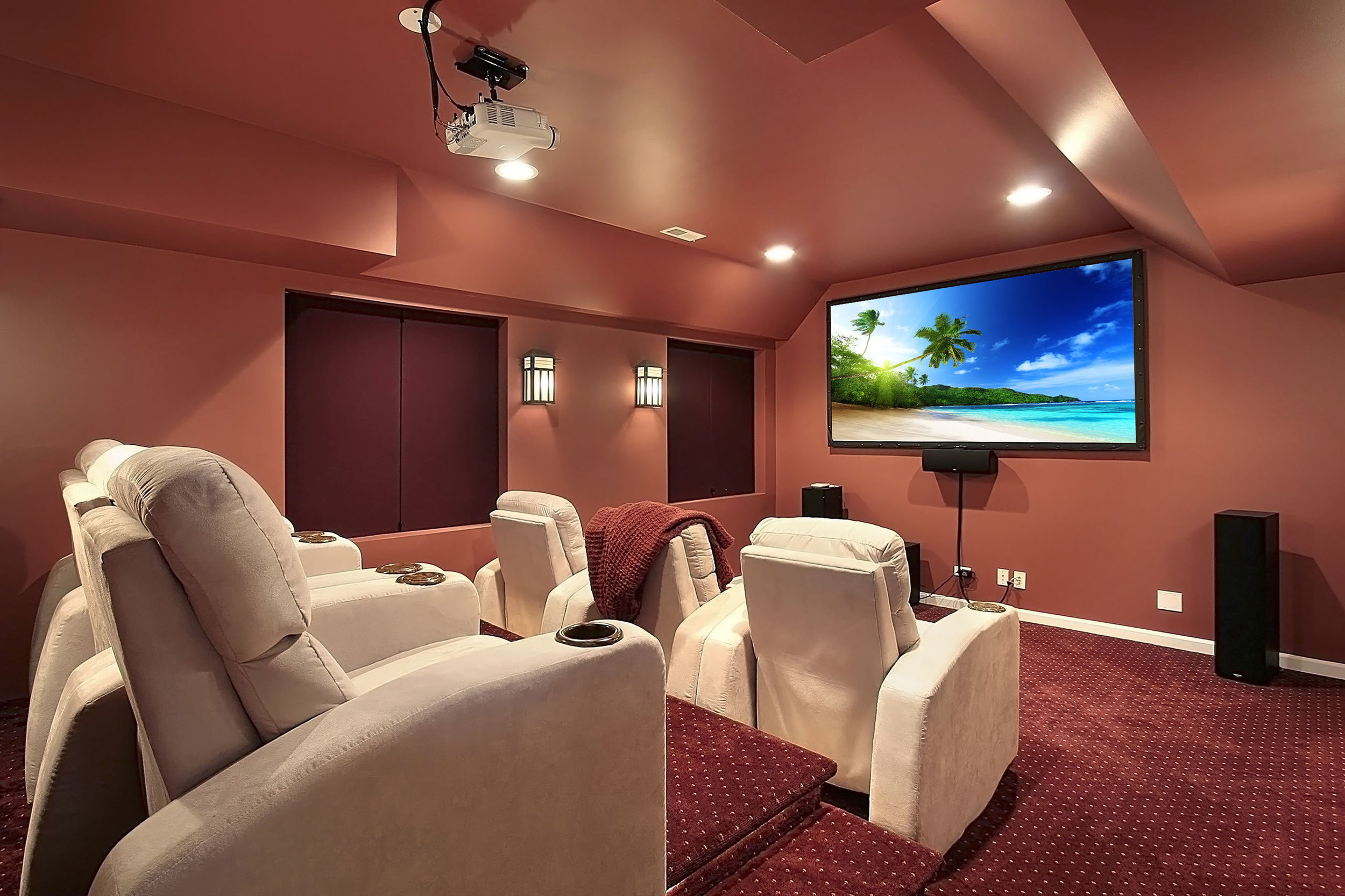 Floors - The best flooring for your home theater is wall to wall carpet, as it absorbs ambient sound! Consider adding a cushy pad underneath.