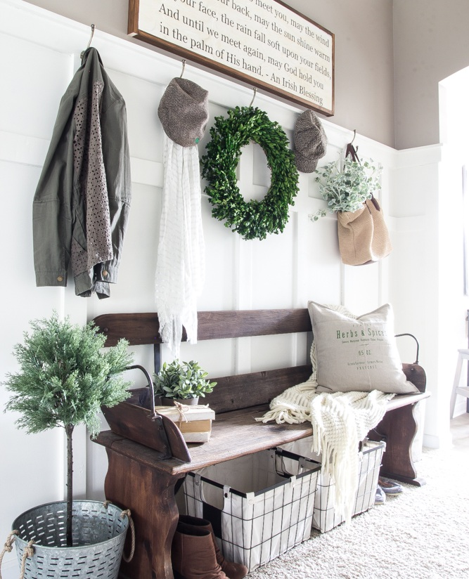 5. Organize your mudroom or entrance. - A clean and decluttered mudroom or entry is essential for welcoming guests into your home. Here are some tips for cleaning up!