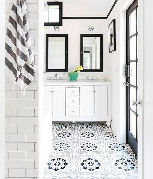 gray-moroccan-bathroom-floor-tiles-black-framed-medicine-cabinets.jpg