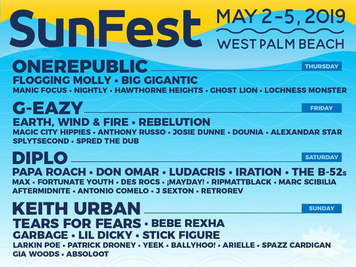 sunfest music festival downtown west palm beach one respublic g-eazy keith urban