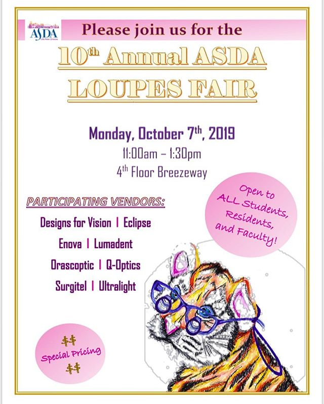 LOUPES FAIR MONDAY!!! Come visit all of these great vendors for new loupes, adjustments, and more #loupesfair