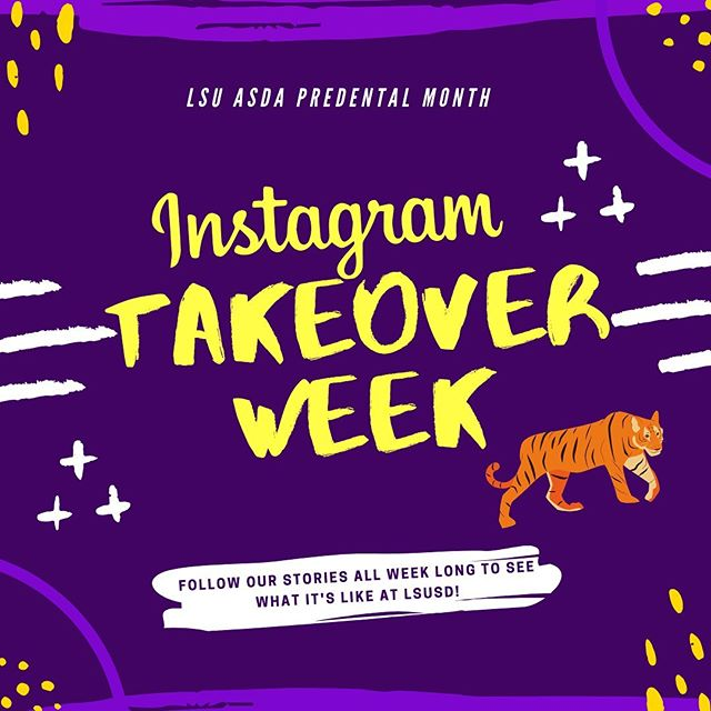 Tomorrow starts our Instagram Takeover Week! Check out our stories all week long to see what life at LSUSD is really like! 🦷🐯 • Schedule: •Monday: D2s •Tuesday: D1s •Wednesday: D3s •Thursday: D4s  #ASDApredental #predentalmonth #LSUSD #futuredds