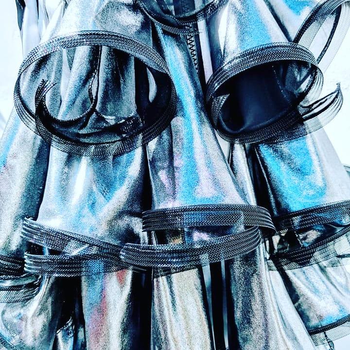 Metallic Silk Fluted Dress