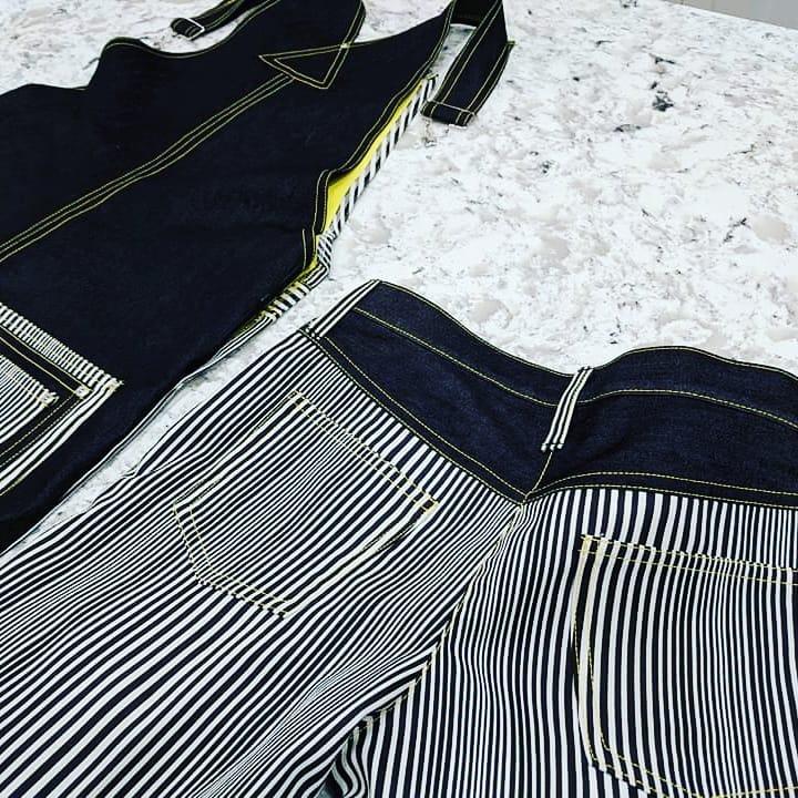 Black & White Striped Overalls