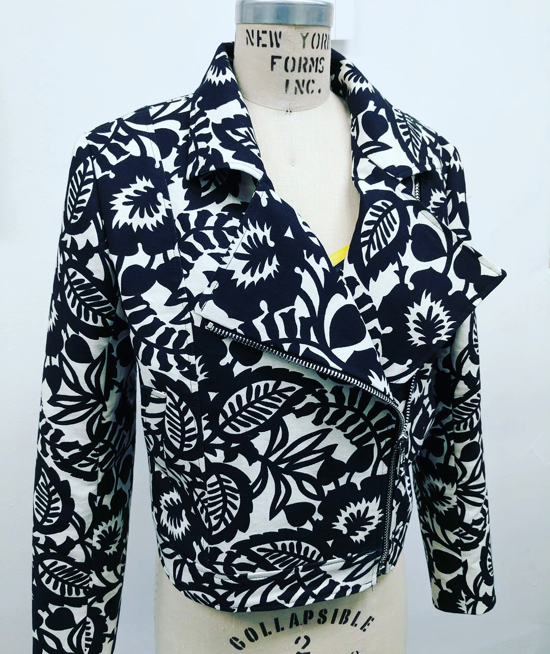 Black and White Floral Canvas Motorcycle Jacket