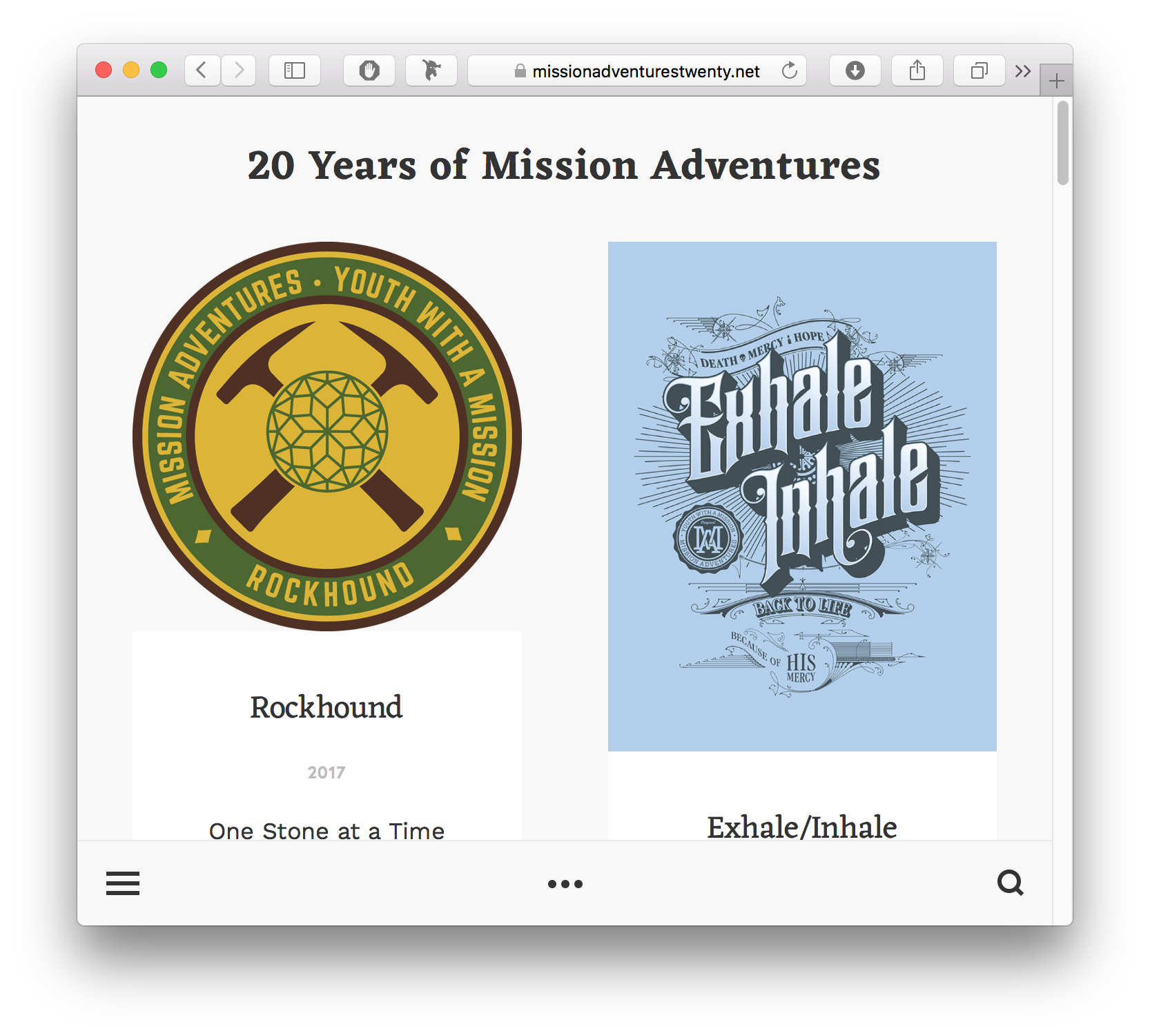 Mission Adventures Themes 1997-2017