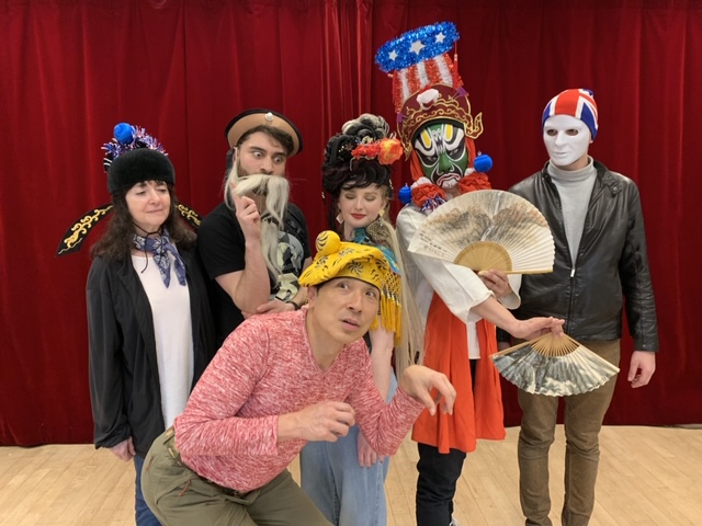 """The cast of """"Citizen Wong"""" in a Chinese Opera dream. From left: Alex Carroll (as White Faced Demon), Bonnie Black (U.S. Prosecutor), Zach Lusk (U.S. Supreme Court Justice), Richard Chang (Wong Chin Foo/Monkey King), Kristina Auten (Eliza Stanhope/Moon Goddess) and Eric Mead (U.S. President)"""