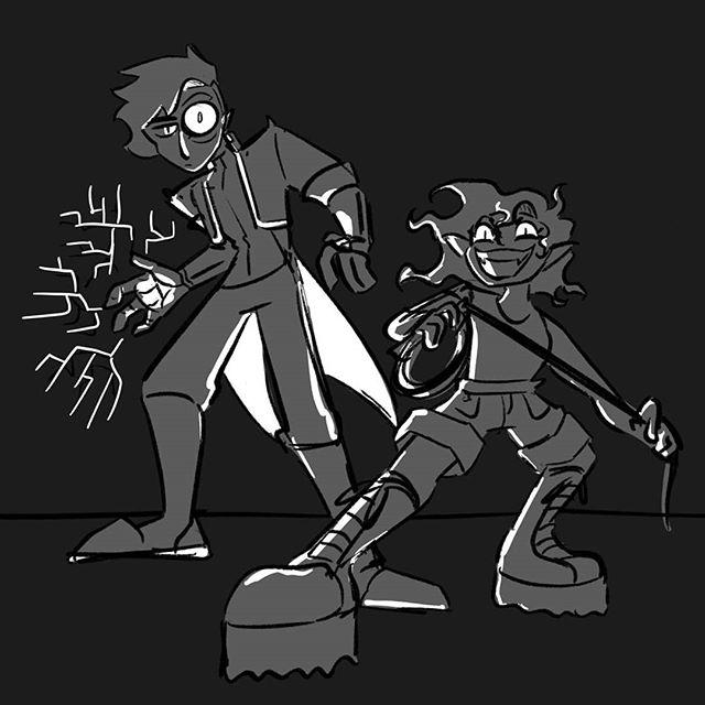 Pox and Z ⚡ By: @thebellawilliams . . . . . . . . . . . . . . . . . #neoscum #shadowrun #cyberpunk #rpg #comedy #chicagoimprov #podcast #actualplaypodcast #comedypodcast #techwizard #zenith #dakrambo #pox #roleplaying #gamer #game #fanart #art #characterart #listen #scummer #shadowrunner #trucker #hacker #decker #wizard #elf #gm #gamemaster
