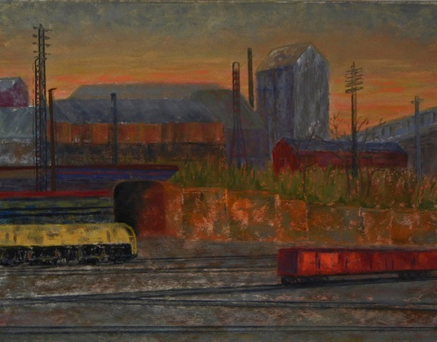 Dawn at the Freight Yard  | Oil |  $500