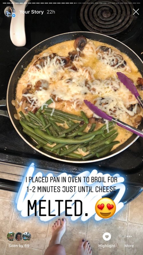 - Place your chicken and mushrooms back in pan. Add in greens of your choice (I used green beans) .Sprinkle mozzarella cheese on top of chicken and place into oven to broil for 2-3 minutes or until cheese is melted.