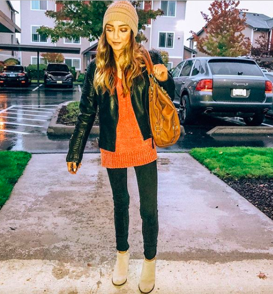 leather jacket  //  chenille sweater  //  jeans  //  booties  //  beanie