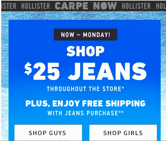 Literally all but two of my jeans are from hollister. Perfect for girlies with skinny legs. They offer tall/long in some styles too for you lucky ladies with long legs