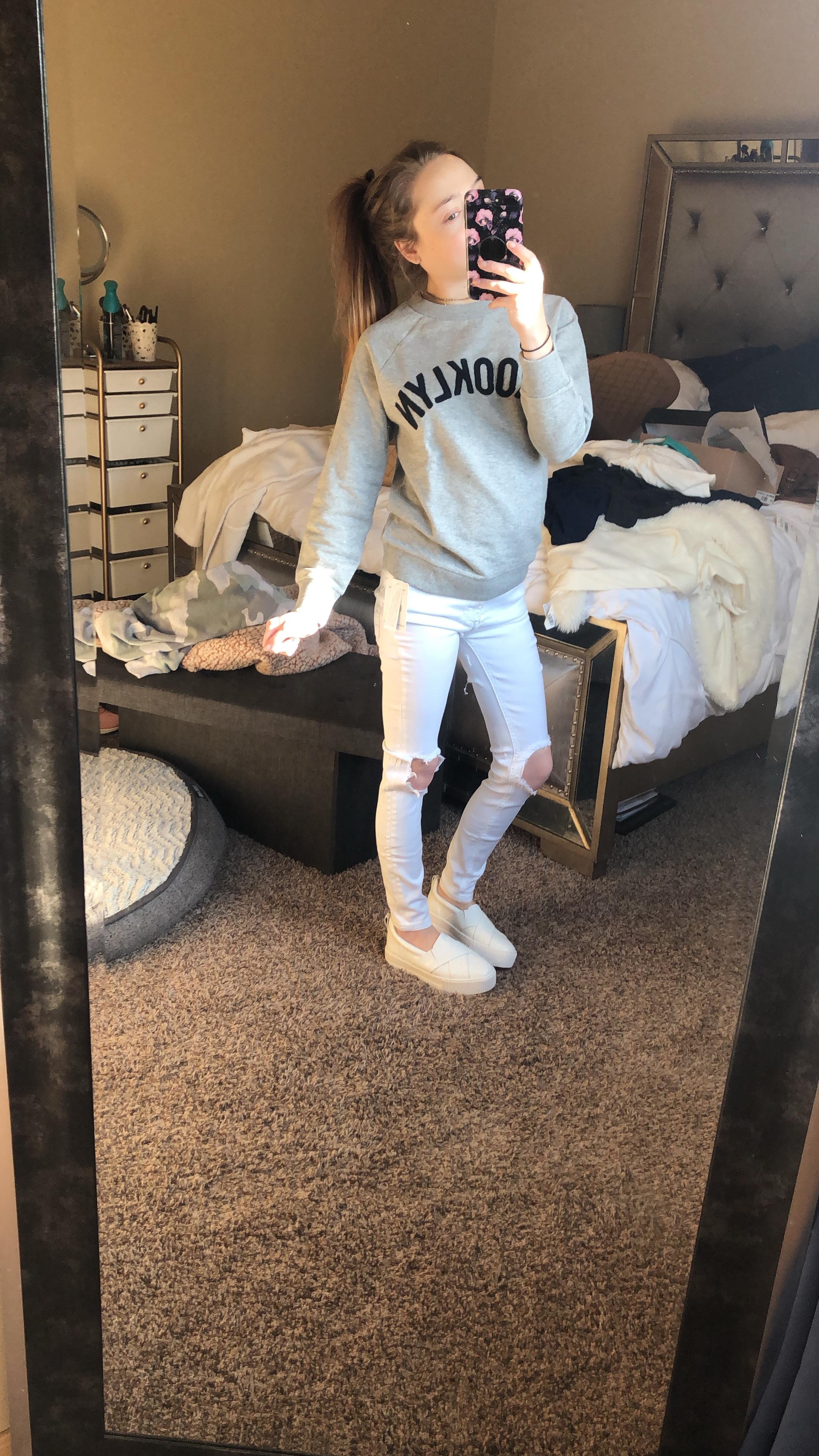 Platform Slides  //  Free People White Jeans  //  Sweater