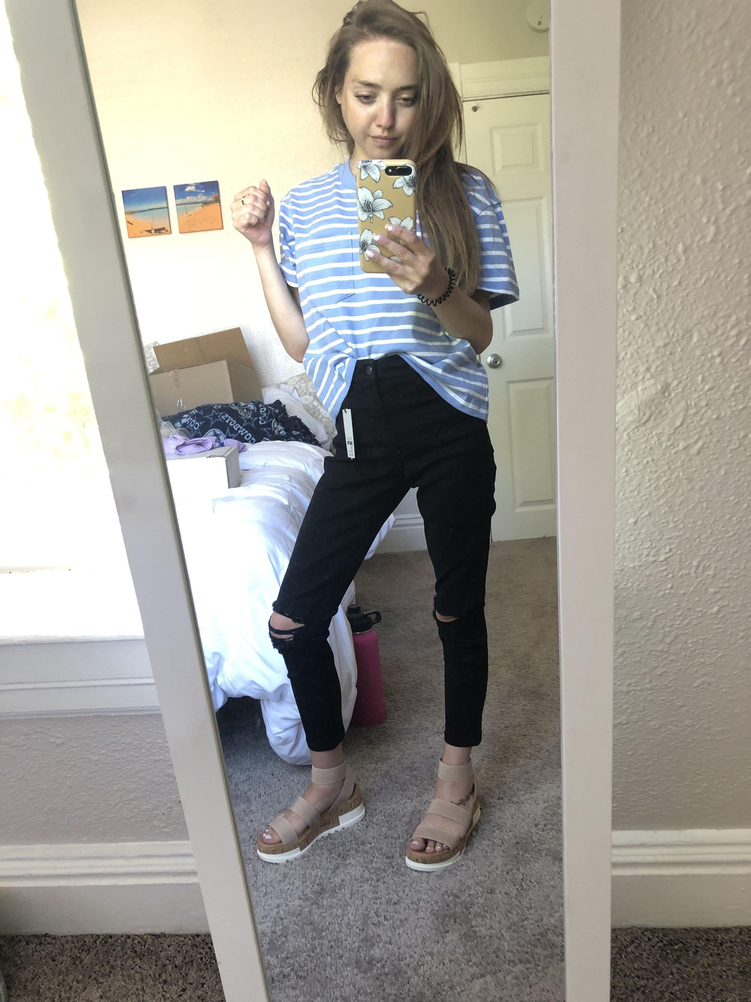 destroyed black jeans  //  striped pocket tee  //  platform shoes