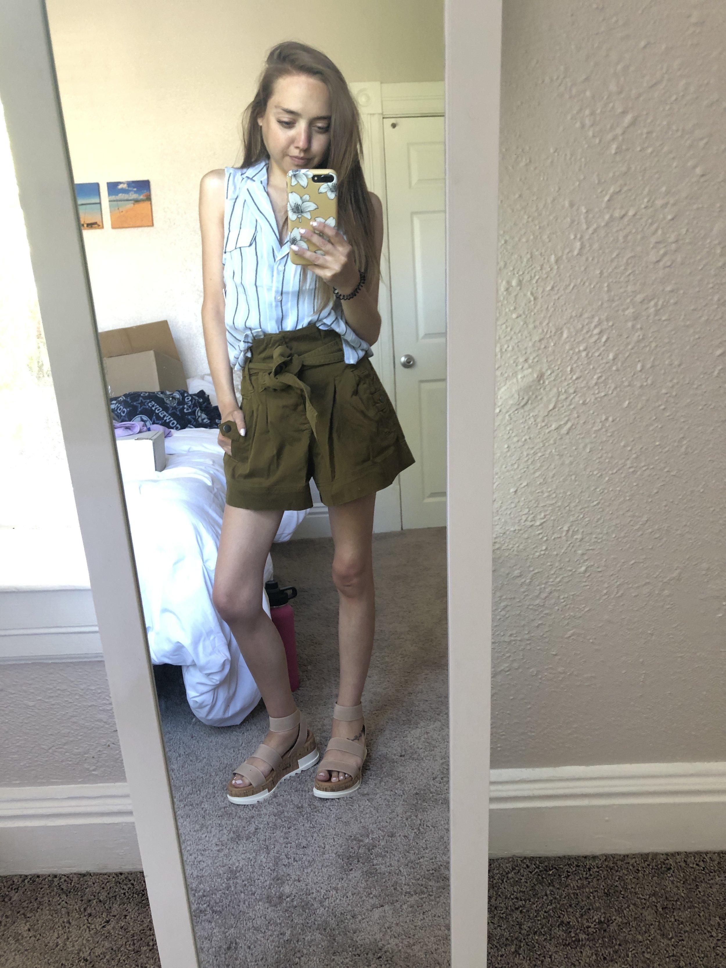 sleeveless shirt  //  paperbag shorts  //  platform sandals