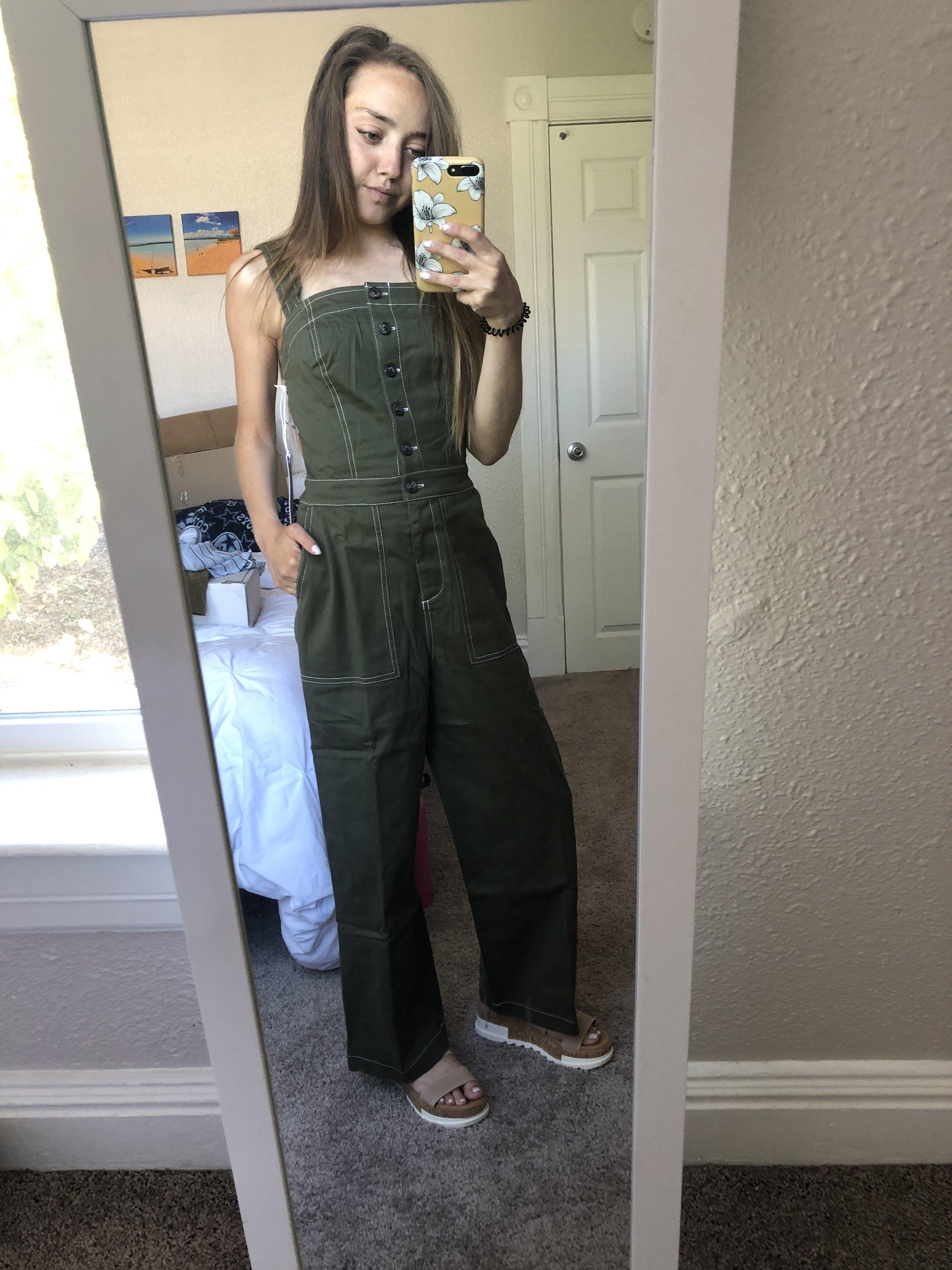 jean stitch jumpsuit  //  platform sandals