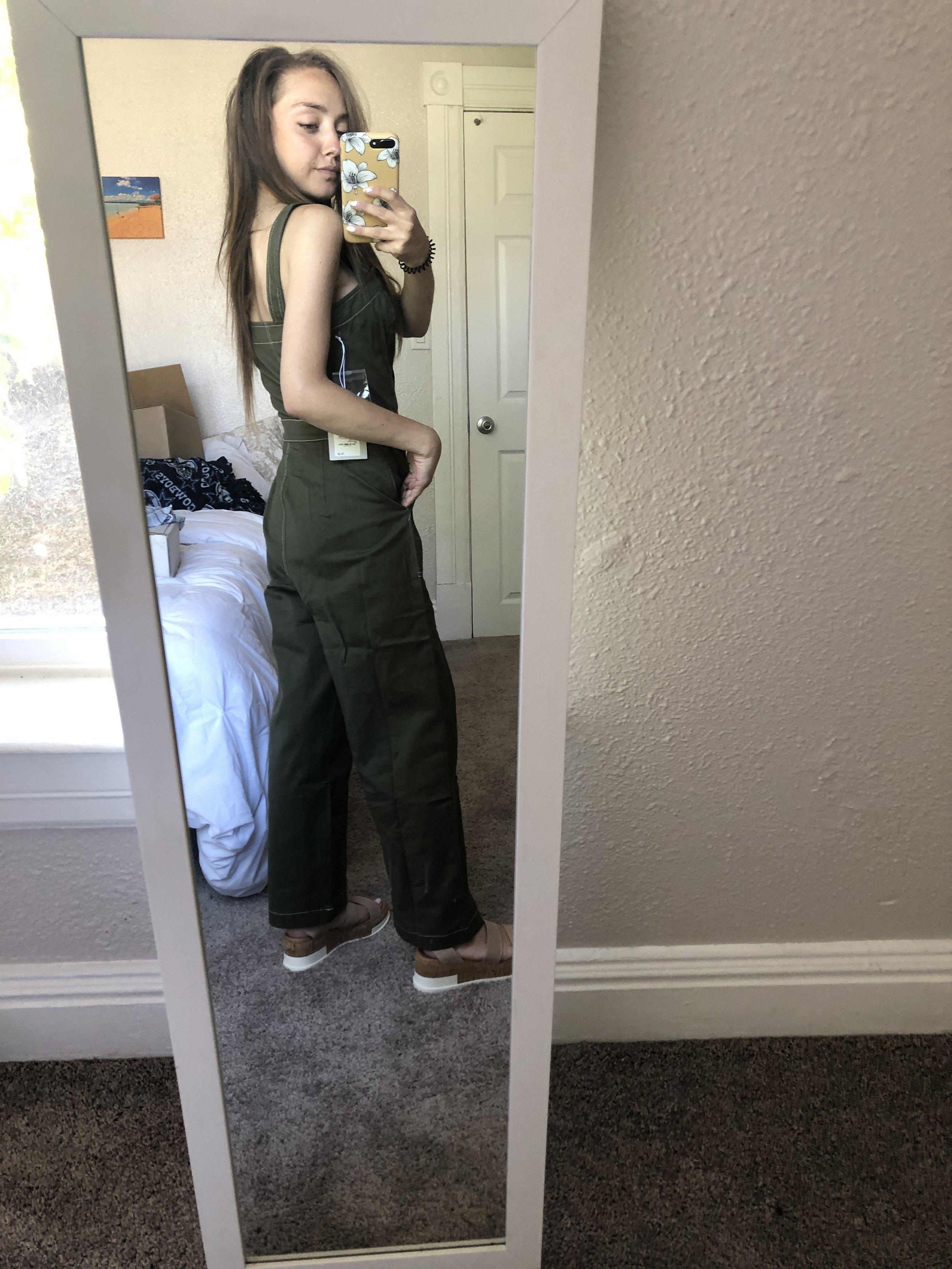 jean stitch jumpsuit (back view)   //  platform sandals
