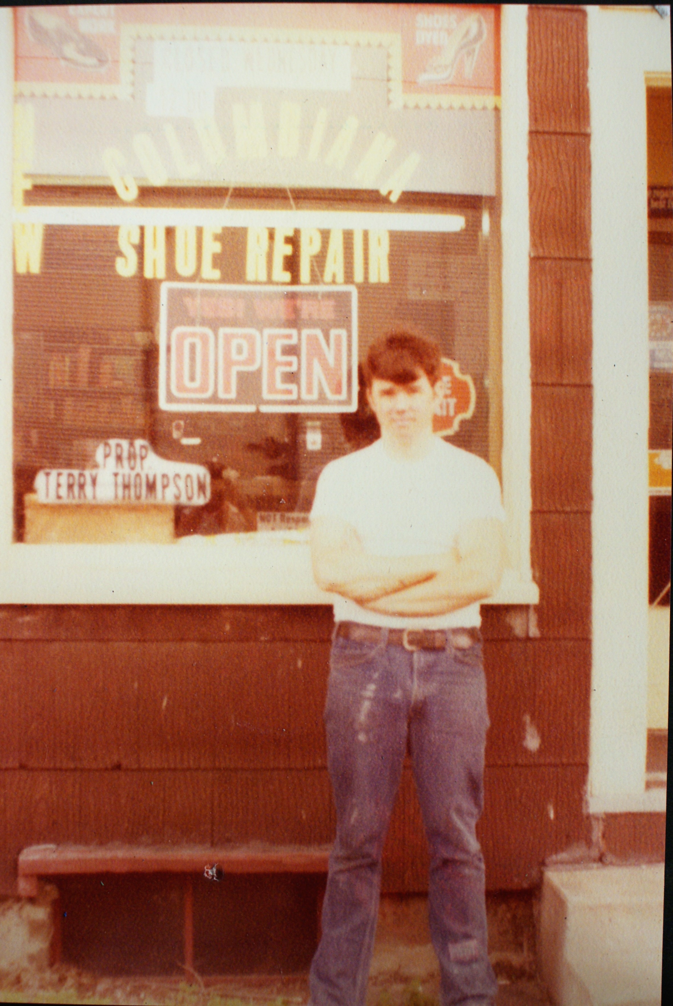 Terry in front of his first store, 1975